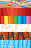 Fabric samples. Collection of various banners - vector Stock Photography