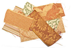Fabric Samples. Samples of various heavy weight fabric swatches arranged randomly Royalty Free Stock Images