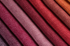 Fabric samples. Closeup detail of multi color fabric samples texture background Royalty Free Stock Photos