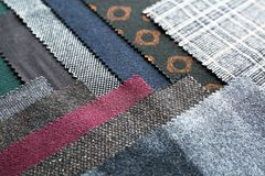 Fabric samples with different patterns,. Closeup Royalty Free Stock Images