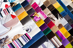 Fabric samples for textil. And furniture Royalty Free Stock Photo