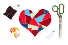 Fabric scraps heart Stock Image
