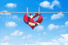 Fabric scraps heart Stock Photos