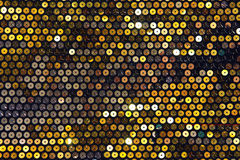 Fabric with sequins, turquoise and gold Stock Images