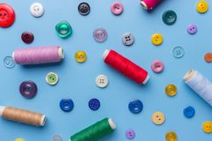 Fabric and sewing items for sewing clothes,. View from above stock photography