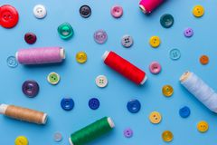 Fabric and sewing items for sewing clothes,. View from above royalty free stock photo