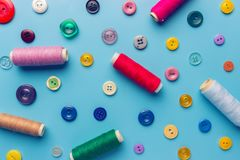 Fabric and sewing items for sewing clothes,. View from above stock photo