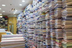 Fabric Shop. Variety and choices of fabric material inside the shop Stock Image