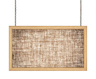 Fabric signboard hanging a chain on white background Royalty Free Stock Image