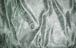 Fabric with Silver Metallic Tapestry on Pale Green Royalty Free Stock Photos