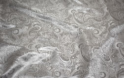 Fabric with Silver Metallic Tapestry on White Stock Image