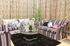 Fabric sofa in living room stock photos