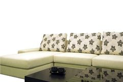 Fabric sofas. White background in the sofa royalty free stock images