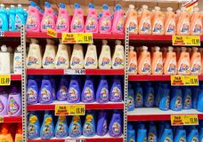 Fabric softener shelf in a supermarket Royalty Free Stock Photography
