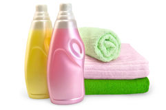 Fabric softener with towels Royalty Free Stock Photo