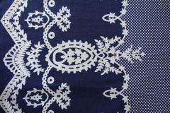 Fabric with sophisticated vintage print. From above Stock Photos