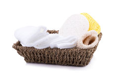 fabric and sponge for skin care on white background. Stock Images