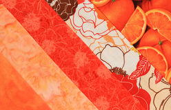 Fabric square-orange. Close-up of a quilt block Royalty Free Stock Photo