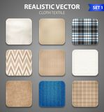 Fabric Square Swatches Realistic Set. Textile texture color realistic square samples collection of home decorating and apparel fabric swatches  vector Royalty Free Stock Photography