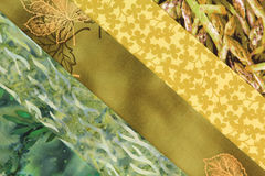 Fabric square-Yellow. Strips of fabric for a quilting block Royalty Free Stock Photography
