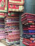 Fabric stall in Nepal Stock Image