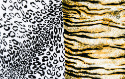 The fabric on striped leopard and tiger. On background Stock Photo