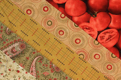 Fabric strips-red. Close-up of fabric strips of a quilt block Royalty Free Stock Photos
