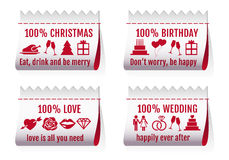Fabric tags for cards, vector set Royalty Free Stock Image