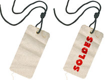 Fabric tags, empty and with Soldes inscription Stock Images
