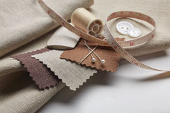 Fabric and tailoring tools Royalty Free Stock Images