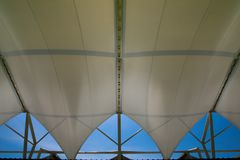 Fabric tensile roof. Structure with skylight Royalty Free Stock Image