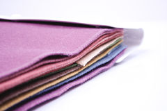 Fabric test folder. A fabric test folder with several sheets of textiles royalty free stock photos