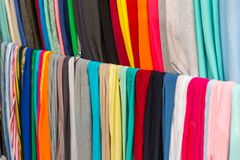 Fabric textile showcase, colorful materials. Closeup. Clothing factory production Royalty Free Stock Image
