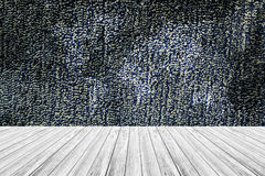 Fabric texture background, with white wood terrace and world map Stock Photo