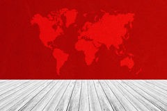 Fabric texture background, with white wood terrace and world map Stock Image