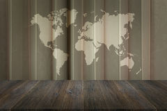 Fabric texture background with wood terrace with world map Royalty Free Stock Image