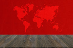 Fabric texture background with wood terrace with world map Stock Image