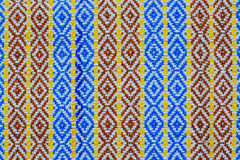Fabric texture in blue red and yellown stripes texture backgroun Royalty Free Stock Photo