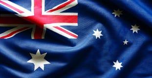 Flag of Australia. Fabric texture of the flag of Australia Stock Images