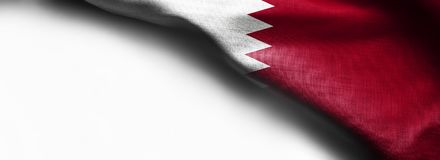 Fabric texture flag of Qatar on white background - right top corner flag stock image