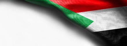 Fabric texture flag of Sudan on white background stock photography