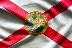 Fabric texture of the Florida Flag - Flags from the USA. Fabric texture of the Florida Flag background - Flags from the USA royalty free stock photography