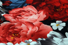 Fabric texture with flowers Royalty Free Stock Photos