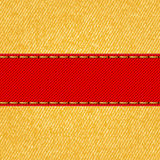 Fabric texture with label ribbon. Vector Royalty Free Stock Photography