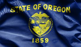 Fabric texture of the Oregon Flag - Flags from the USA. Fabric texture of the Oregon Flag background - Flags from the USA stock illustration
