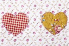 Fabric texture pattern heart Royalty Free Stock Image
