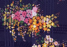 Fabric texture silk with colorful stylized flower bouquet stock photography