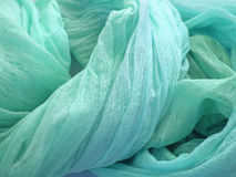 Fabric texture. Soft turquoise curvy fabric texture Stock Photography