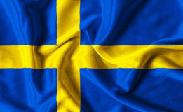 Fabric texture of the Sweden flag Stock Image