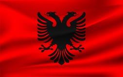 Realistic waving flag of the Albania. Fabric textured flowing flag,vector EPS10. Fabric textured flowing flag,vector EPS10 stock illustration